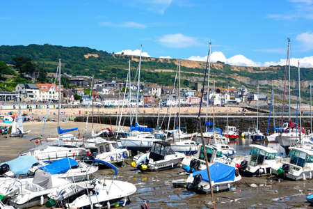 Boats and yachts moored in the harbour with views towards the beach and town, Lyme Regis, Dorset, England, UK, Western Europe.