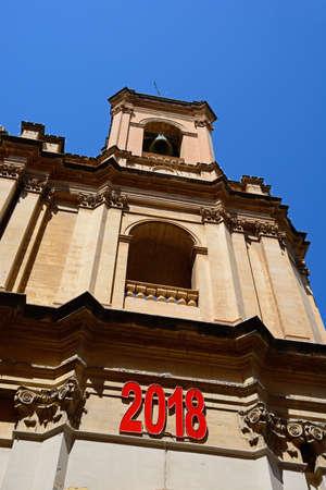 St Augustine Church bell tower along Old Bakery Street, Valletta, Malta, Europe. Stock Photo