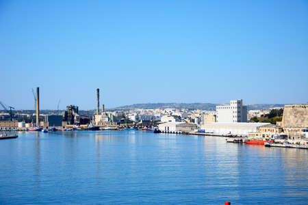 warehouse building: View of the docks and surrounding buildings, Paola, Malta, Europe. Editorial