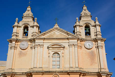 St Pauls Cathedral bell tower also known as Mdina Cathedral, Mdina, Malta, Europe.