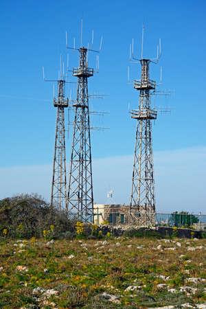 View of Dingli Aviation radar station communication aerials, Dingli, Malta, Europe. Stok Fotoğraf