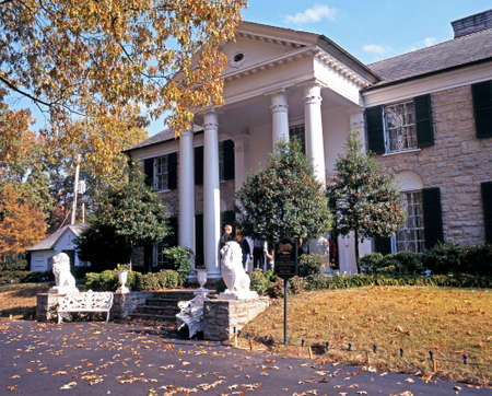 Front view of Graceland, the home of Elvis Presley, during the Autumn, Memphis, Tennessee, United States of America.