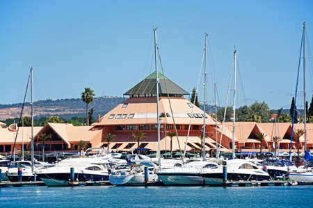 View of yachts in the marina with buildings to the rear, Vilamoura, Algarve, Portugal, Europe. Editorial