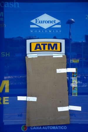 Brand new unused ATM machine in the marina, Albufeira, Algarve, Portugal, Europe.