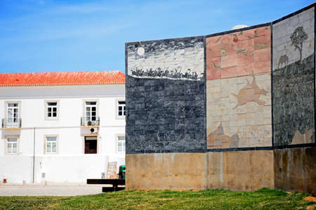 Modern art wall depicting the battle of Alcacer Quibir and the disappearance of King Sebastiao in the Jardim da Constituicao, Lagos, Algarve, Portugal, Europe.