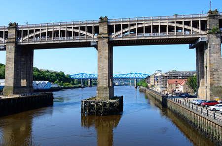 View of the High Level bridge across the River Tyne, Newcastle upon Tyne, Tyne and Wear, England, UK, Western Europe.