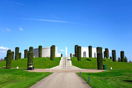Front view of the Armed Forces Memorial, National Memorial Arboretum, Alrewas, Staffordshire, England, UK, Western Europe.