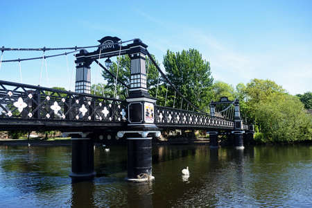 View of the Ferry Bridge also known as the Stapenhill Ferry Bridge and the River Trent, Burton upon Trent, Staffordshire, England, UK, Western Europe.