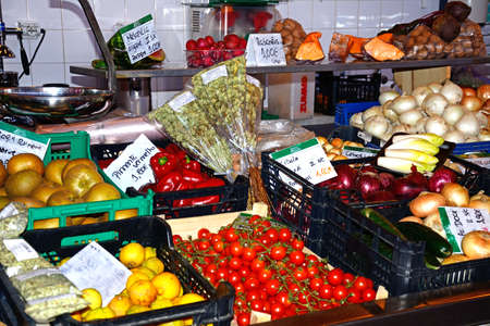 Fruit and vegetable stall in the indoor market, Olhau, Algarve, Portugal, Europe.