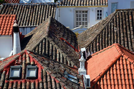 Elevated view of traditional Portuguese rooftops, Tavira, Algarve, Portugal, Europe.