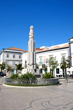 View of the France Africa war memorial in the Praca de Republica in the town centre, Tavira, Algarve, Portugal, Europe.