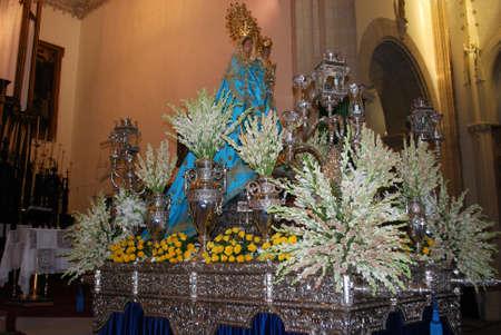 Shrine and statue inside St Matthews church (Iglesia San Mateo), Tarifa, Cadiz Province, Andalusia, Spain, Europe