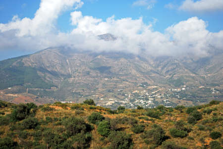 View across countryside towards the Sierra de Mijas mounmtains near Fuengirola, Costa del Sol, Andalusia, Spain, Europe.