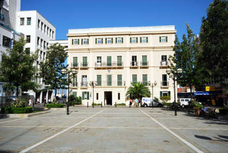 View of the front facade of the city Hall in John Mackintosh Square, Gibraltar, Europe.