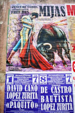 Bullfighting and matador poster, Mijas, Andalusia, Spain, Europe.