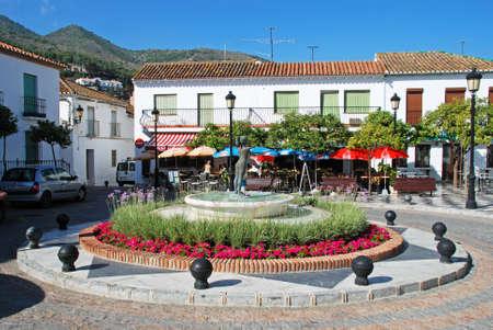 Fountain in the Plaza de Espana, Benalmadena Pueblo, Costa del Sol, Malaga Province, Andalucia, Spain.