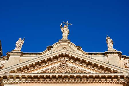 Statues on top of Naxxar Parish, Naxxar, Malta, Europe.