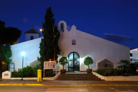 View of San Miguel Church at night, Sitio de Calahonda, Mijas Costa, Costa del Sol, Malaga Province, Andalucia, Spain.