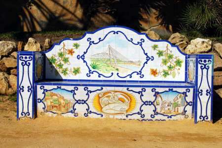 Ornate ceramic tiled bench along Daitona beach promenade, Marbella, Costa del Sol, Malaga Province, Andalucia, Spain, Europe. Editorial