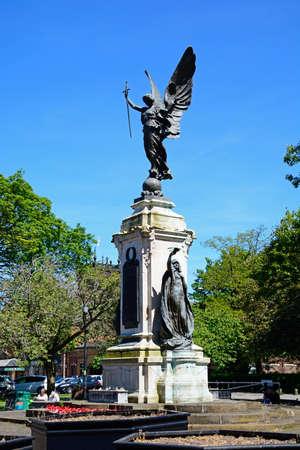 View of the war memorial in Lichfield Street Gardens, Burton upon Trent, Staffordshire, England, UK, Western Europe.