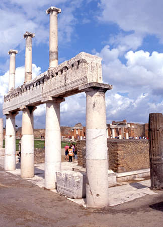 View of part of the Forum buildings, Pompeii, Campania, Italy, Europe. Editorial