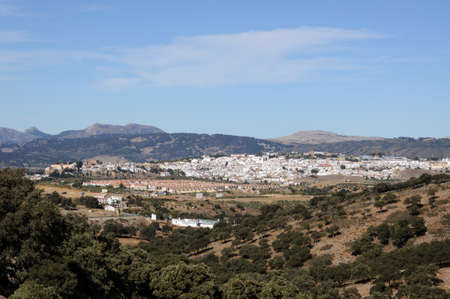 Elevated view of Ronda and surrounding countryside from the East, Ronda, Malaga Province, Andalucia, Spain, Europe.