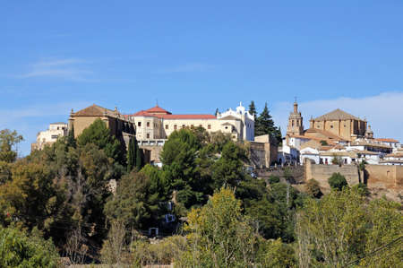 View of town buildings from the East, Ronda, Malaga Province, Andalucia, Spain, Europe