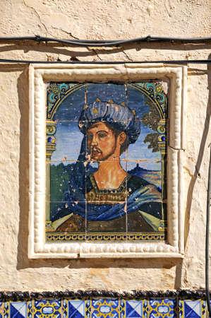 RONDA, Hiszpania - 24 października 2009 - ceramiczny obraz króla Maurów na ścianie domu króla Maurów (Casa del Rey Moro), Ronda, Prowincja Malaga, Andaluzja, Hiszpania, Europa, 24 października 2009.