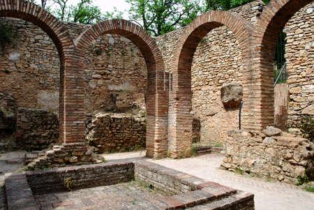 Brick arches and pool in the Arab baths, Ronda, Malaga Province, Andalucia, Spain, Europe,