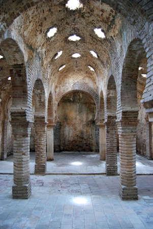 Columns inside the Arab baths with star shaped skylights, Ronda, Malaga Province, Andalucia, Spain, Europe