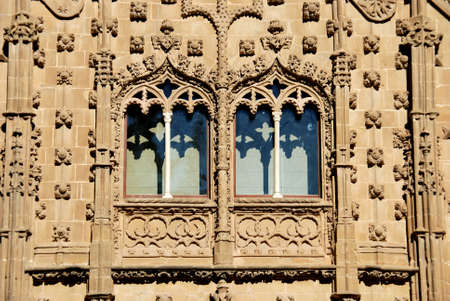 Arched windows and decorative wall detail on the front of the Jabalquinto Palace, Baeza, Jaen Province, Andalucia, Spain, Western Europe