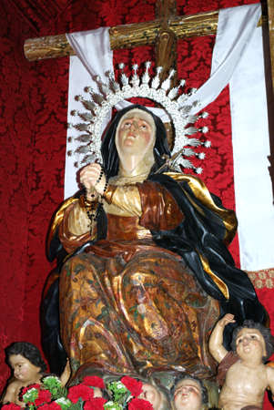 Statue of Mary inside the Santa Maria La Mayor Church in the historic old town, Ronda, Malaga Province, Andalucia, Spain, Europe