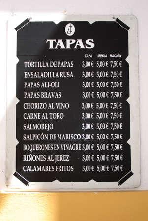 Typical tapas menu board, Cordoba, Spain.