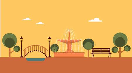 garden fountain: park vector