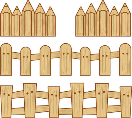 picket fence: wood fence vector