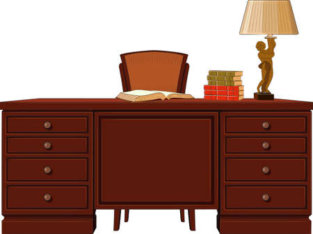 reading lamp: work table vector Illustration