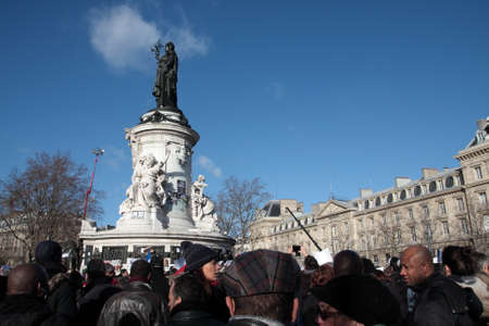 satirical: Event on Republic Square in Paris Against Terrorism and in memory of the attack Against satirical newspaper Charlie Hebdo-January 11, 2015. France Stock Photo