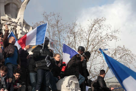 satirical: Event on Republic Square in Paris Against Terrorism and in memory of the attack Against satirical newspaper Charlie Hebdo-January 11, 2015. France Editorial