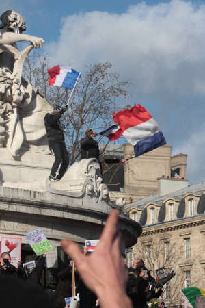 fraternity: Manifestation on Republic Square in Paris against terrorism and in memory of the attack against satirical newspaper Charlie Hebdo-January 11, 2015. France