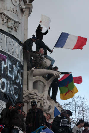satirical: Manifestation on Republic Square in Paris against terrorism and in memory of the attack against satirical newspaper Charlie Hebdo-January 11, 2015. France
