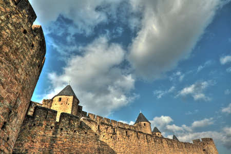 fortify: Fortified city of Carcassonne in Aude,Languedoc region of France Editorial