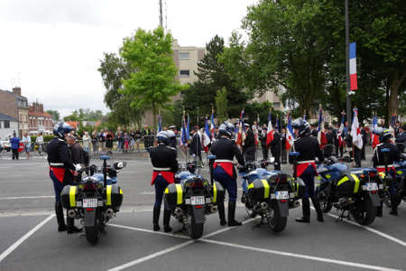 motorcycle officer: During Gendarme 14 july parade, France Editorial