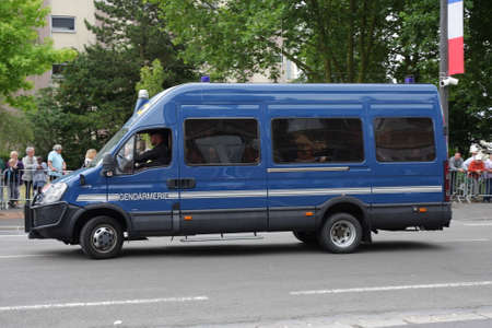 security uniform: Vehicle of Gendarme During 14 july parade, France Editorial