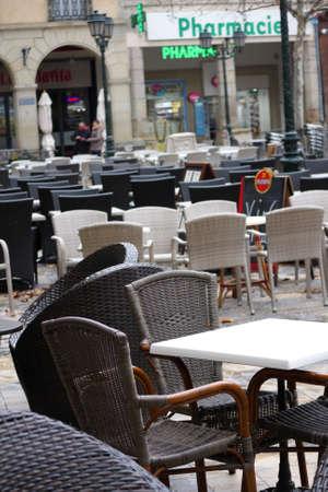 wicker bar: Empty terrace bar in Limoux, Languedoc Region of France