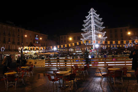 faerie: Rink in a christmas market in Perpignan, Languedoc Region of France Editorial