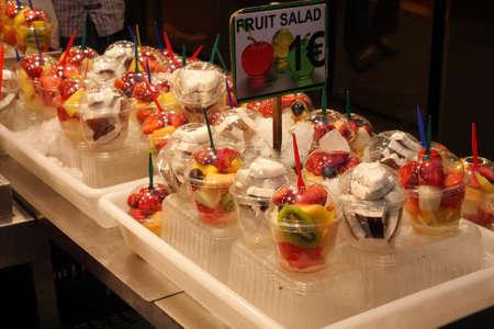 Fruit salad at market Boqueria, Barcelona