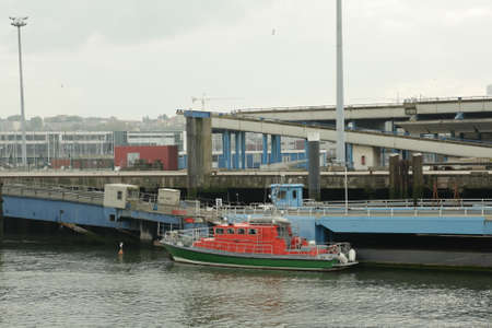 holydays: Fishing boat returning to port, Boulogne-sur-Mer, France Stock Photo