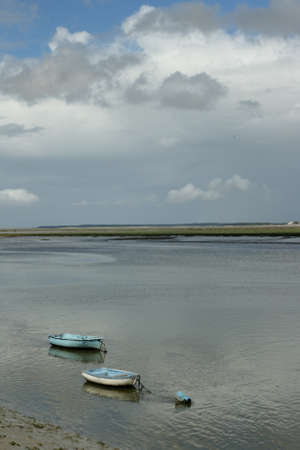 holydays: small boat in Somme bay, France