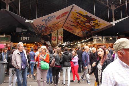 la boqueria: People visit the market  La Boqueria in Barcelona