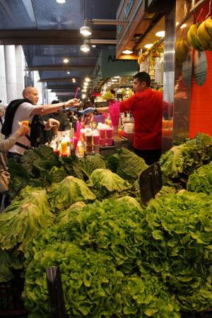 la boqueria: Salad stall at market la Boqueria in barcelona Editorial